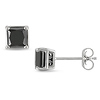 1 1/2 CT Black Diamond TW 14K White Gold Stud Earrings I2;I3