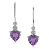 Heart Cut Amethyst & Diamond Accent 10K White Gold Drop Earrings
