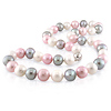 Pink Tri Color Pearl Strand Necklace with Silver Ball Clasp
