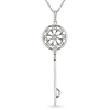 10k White Gold .095 ctw Diamond Key Pendant