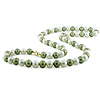 10K Gold Off-Round Pistachio & White Freshwater Pearl Strand Necklace