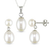 Set of Sterling Silver Rice White Button Pearl Earrings & Pendant