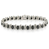 Sterling Silver Black Sapphire Bracelet with Diamond Accents