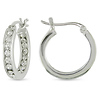 3/4 CT TGW Cubic Zirconia Huggie Earrings Silver