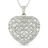 Sterling Silver 1 ctw Diamond Heart Pendant