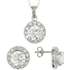 Sterling Silver Set Of Earrings & Pendant