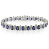 Diamond & Synthetic Sapphire Sterling Silver Bracelet