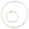 White Rice Freshwater Pearl Necklace & Bracelet Set with Lobster Clasp