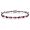 Sterling Silver Created Ruby Bracelet with Diamond Accents
