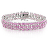 Sterling Silver 37 CT TGW Synthetic Pink Sapphire Bracelet