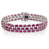 Sterling Silver 37 CT TGW Synthetic Ruby 3 Row Bracelet