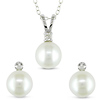 Sterling Silver Set .1 ctw Cultured Pearl Earrings & Pendant