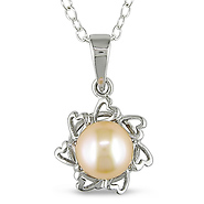 Silver Pink Button Pearl Pendant
