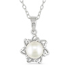 Sterling Silver FW Button Pearl Pendant