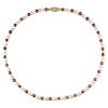 18' 4-5mm Brown/Pink/White FW Pearl Necklace w/ Brass Fish Eye Clasp