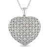Sterling Silver .50 CT TGW Synthetic White Sapphire Heart Pendant