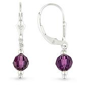 Sterling Silver Amethyst Crystal Bead Drop Earrings