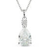 Sterling Silver Pear Shape 4mm Round Cubic Zirconia Pendant with chain