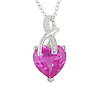 0.024 CTW Diamond & 4.20 CT TGW Synthetic Pink Sapphire Fashion Pendant with Chain Silver