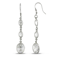 Oval Cubic Zirconia Chandelier Silver Earrings