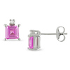 Sterling Silver 0.02 CTW Diamond & 1.10 CT TGW Synthetic Pink Sapphire Ear Pin Earrings
