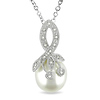 0.04 CTW Diamond 10 - 10.5 MM White Freshwater Pearl Fashion Pendant with Chain Silver