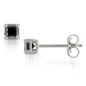 10K White Gold Black Diamond Stud Earrings