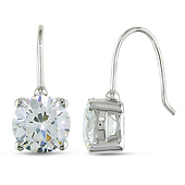 Sterling Silver Round CZ Solitaire Earrings
