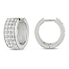 Silver 2-3/8ct TGW 1.75mm Round Cubic Zirconia Huggie Earrings