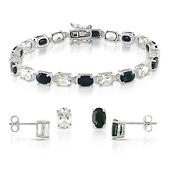 Sterling Silver Oval White Topaz & Black Sapphire Bracelet Set