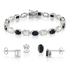 3 pc Set of Silver 25ct TGW 7x5mm Oval Black Sapphire & White Topaz Stud Earrings & 7in Bracelet