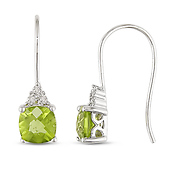 Peridot & Diamond Accent 10K White Gold Drop Earrings