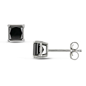 10K White Gold Princess Cut Black Diamond Solitaire Earrings