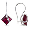 10K White Gold 4.20 CT TGW Synthetic Ruby Euro Back Earrings