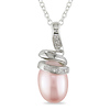 0.025 CTW Diamond 9.5 - 10 MM Pink Freshwater Pearl Fashion Pendant with Chain Silver