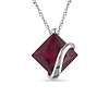 10K White Gold 3.06 CT TGW Synthetic Ruby Fashion Pendant with Chain