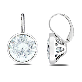 Sterling Silver White Large CZ Drop Earrings
