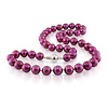 Freshwater 10mm Cranberry Pearl Strand Necklace with Silver Ball Clasp