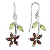 Sterling Silver Garnet & Peridot Earrings