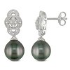 Fancy Silver Diamond 9-9.5mm Black Tahitian Pearl Drop Earrings