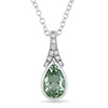 0.05 CTW Diamond & 1.10 CT TGW Green Amethyst Fashion Pendant with Chain Sterling Silver