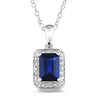 0.04 CTW Diamond & 1.59 CT TGW Synthetic Sapphire Fashion Pendant with Chain Sterling Silver