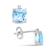 0.015 CTW Diamond & 3.50 CT TGW Blue Topaz - Sky Ear Pin Earrings Silver