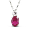 2.33 CT TGW Synthetic Ruby Synthetic White Sapphire Fashion Pendant with Sterling Silver Chain