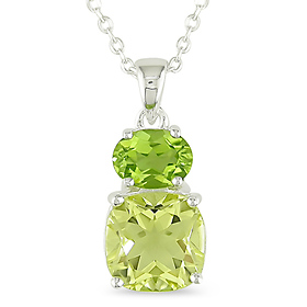 Peridot & Lemon Quartz Pendant Necklace