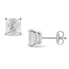10KW 2 CT TGW Princess Cut Synthetic White Sapphire Solitaire Prong Set Earrings