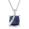 10K White Gold 4 1/6 CT TGW Synthetic Sapphire Fashion Pendant with Chain
