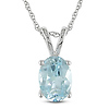 10K White Gold 1.50 CT TGW Blue Topaz - Sky Fashion Pendant with Chain