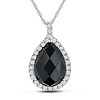 10K White Gold 5.33 CT TGW Onyx & White Topaz Fashion Pendant