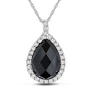 black onyx & white topaz gold pendant